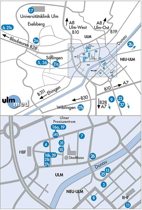 Lageplan der ulmmed Praxen in Ulm und Neu-Ulm